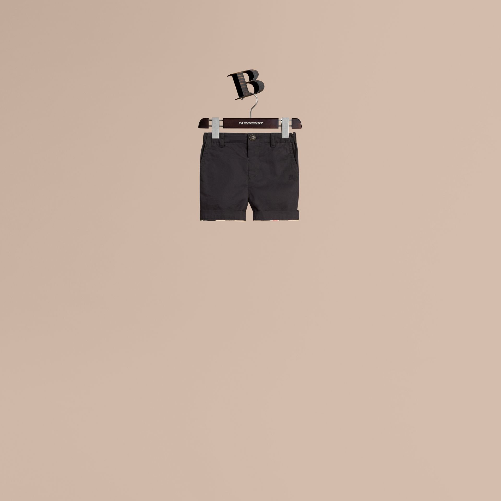 Check Detail Cotton Chino Shorts in Ink | Burberry Canada - gallery image 0