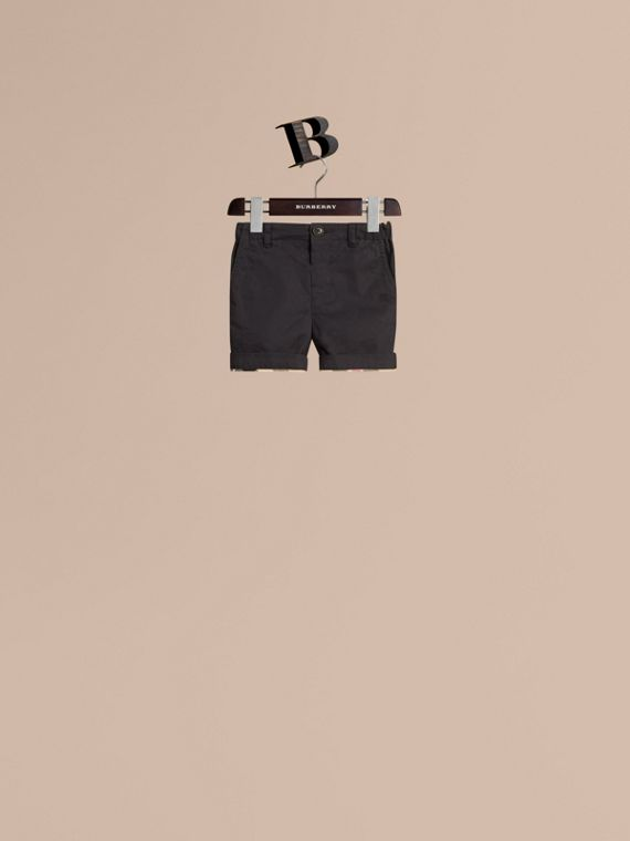 Check Detail Cotton Chino Shorts in Ink | Burberry