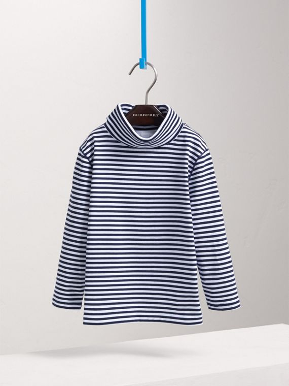 Striped Cotton Roll-neck in Navy/white - Boy | Burberry - cell image 2
