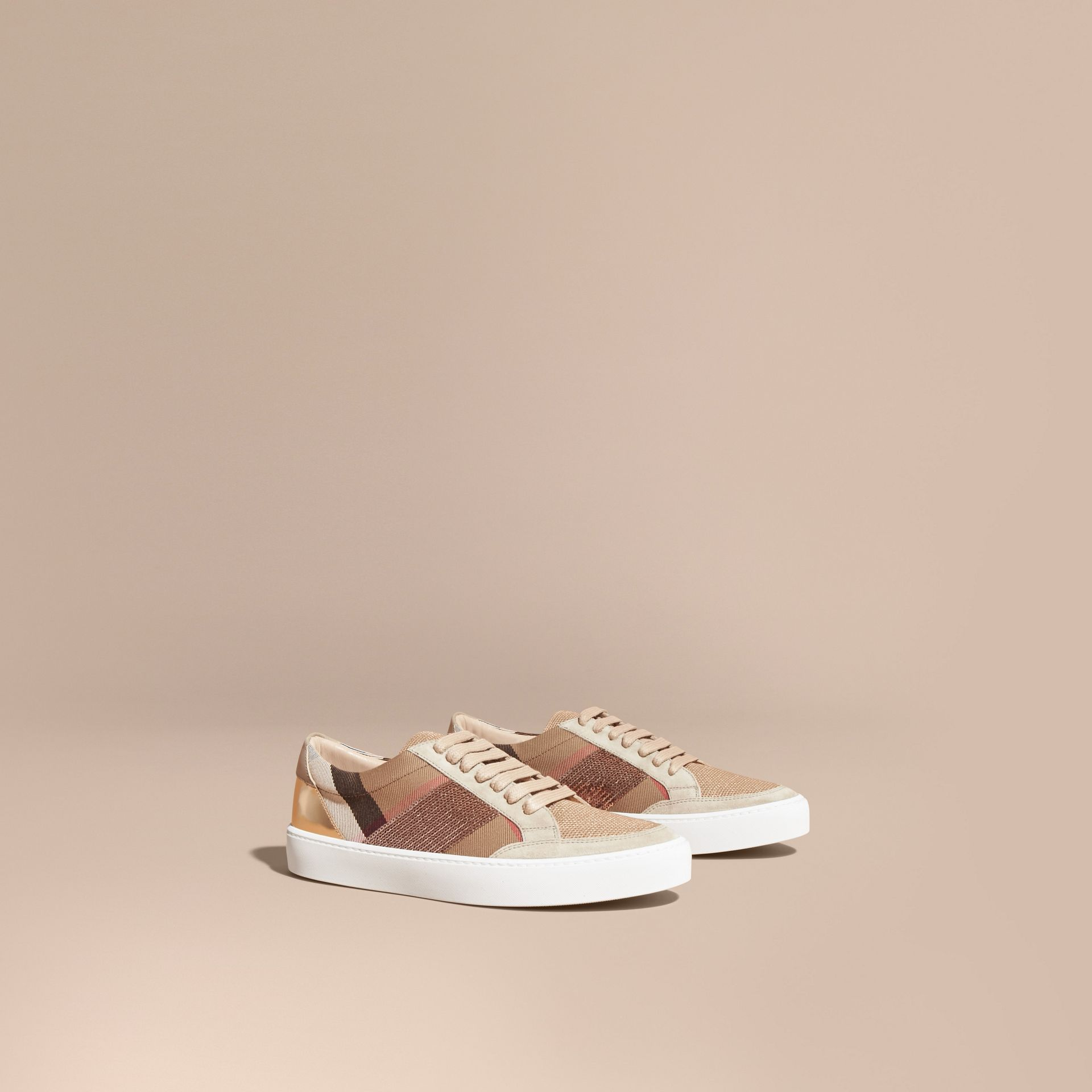 House check/pale pink House Check, Sequin and Leather Sneakers Check/pale Pink - gallery image 1