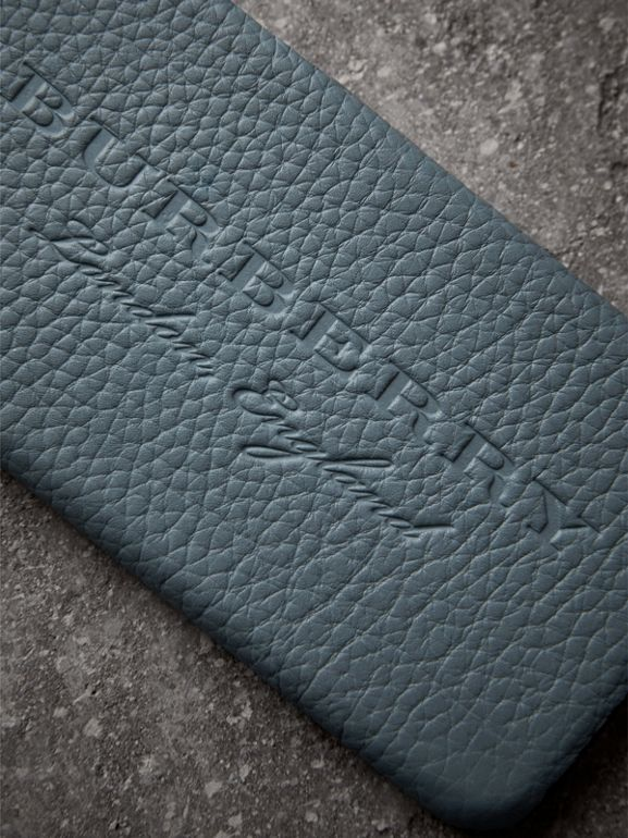 London Leather iPhone 7 Case in Dusty Teal Blue | Burberry United Kingdom - cell image 1