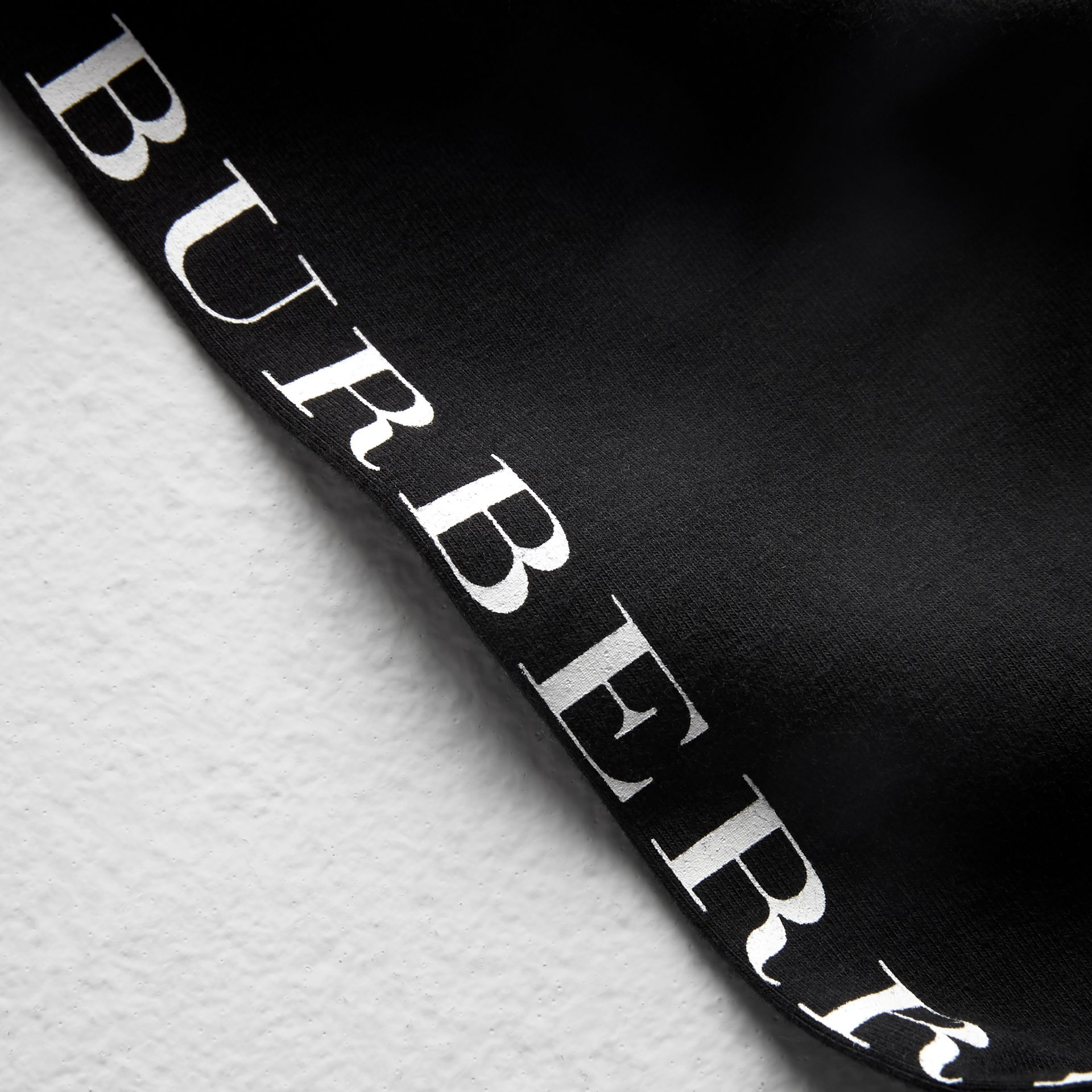 Logo Detail Stretch Cotton Leggings in Black | Burberry - gallery image 1