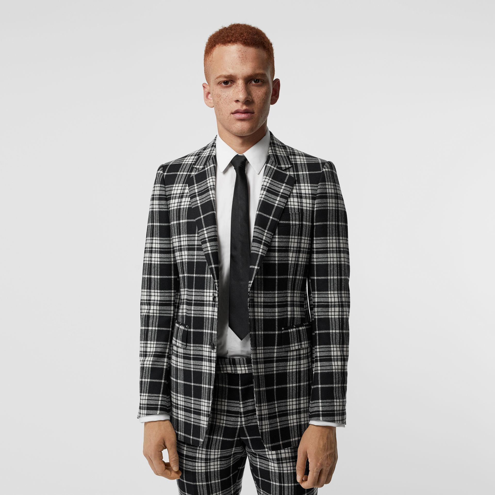 Classic Fit Tartan Wool Cashmere Tailored Jacket in Black - Men | Burberry Singapore - gallery image 6