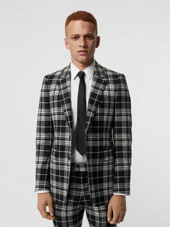 Classic Fit Tartan Wool Cashmere Tailored Jacket in Black