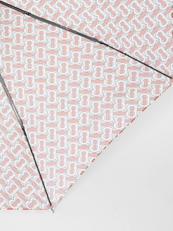 Monogram Print Folding Umbrella in Vermillion | Burberry United Kingdom - cell image 1
