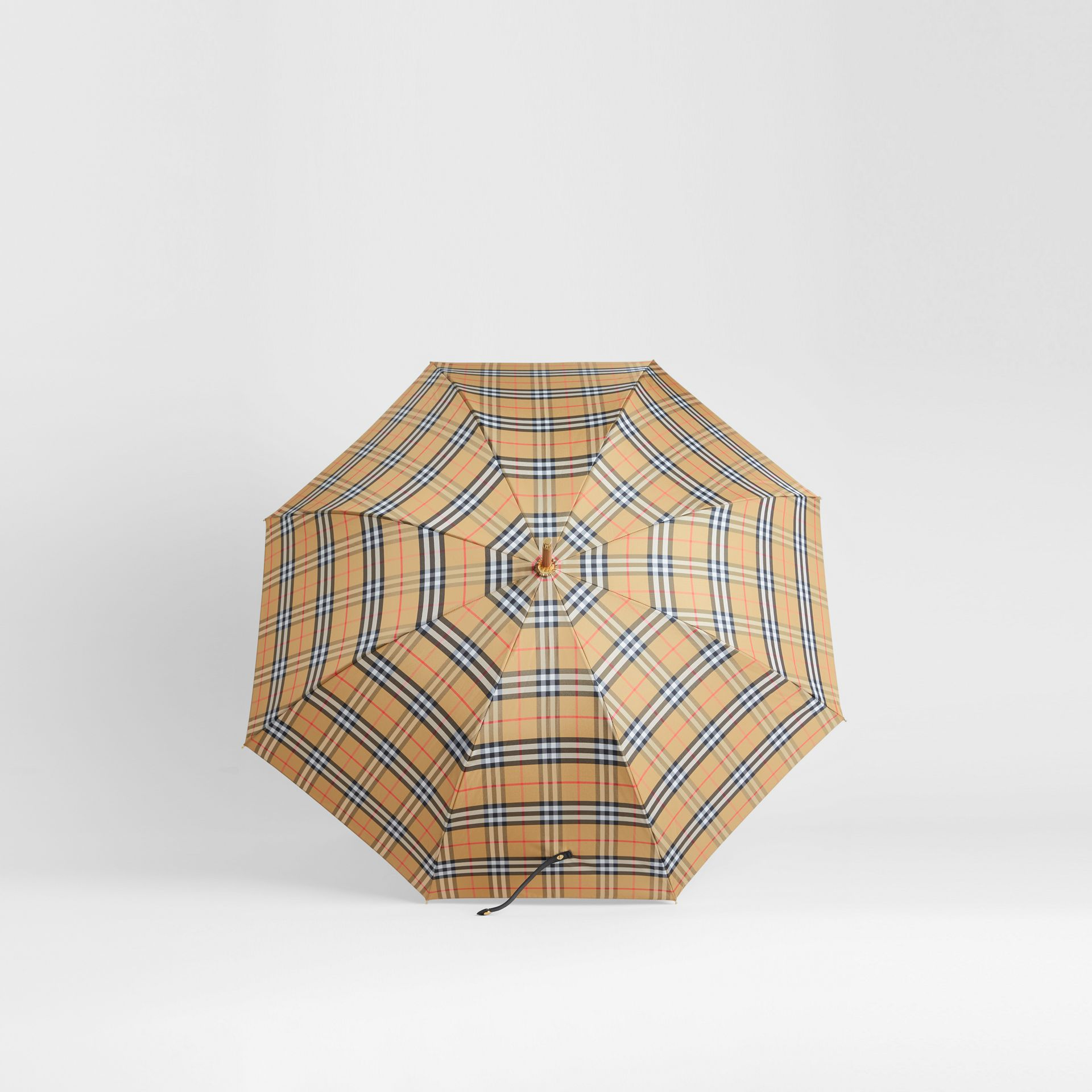Parapluie canne à motif Vintage check (Jaune Antique/noir) | Burberry Canada - photo de la galerie 2