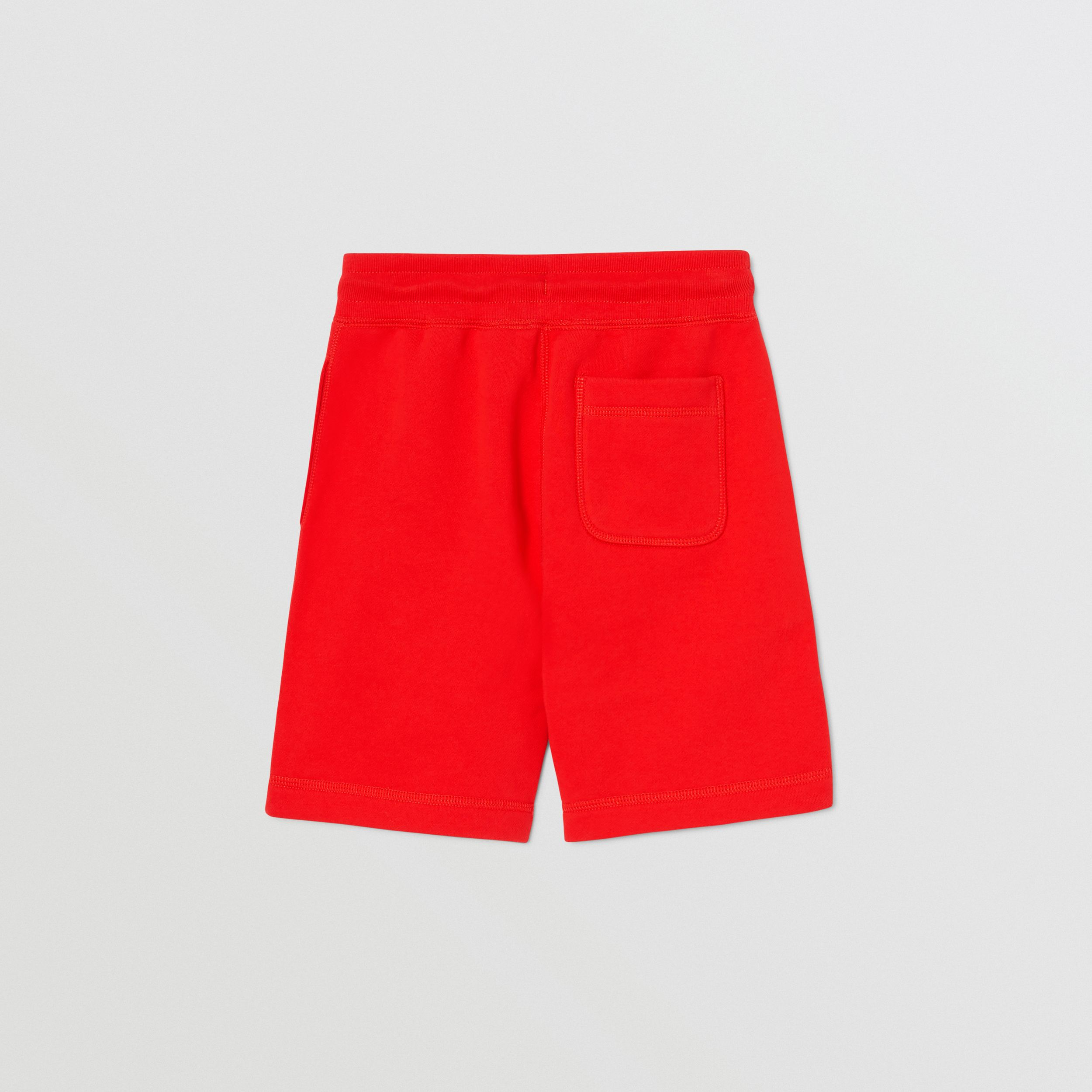 Contrast Logo Graphic Cotton Drawcord Shorts in Bright Red | Burberry - 4