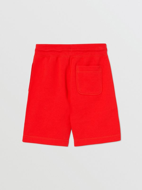 Contrast Logo Graphic Cotton Drawcord Shorts in Bright Red | Burberry - cell image 3