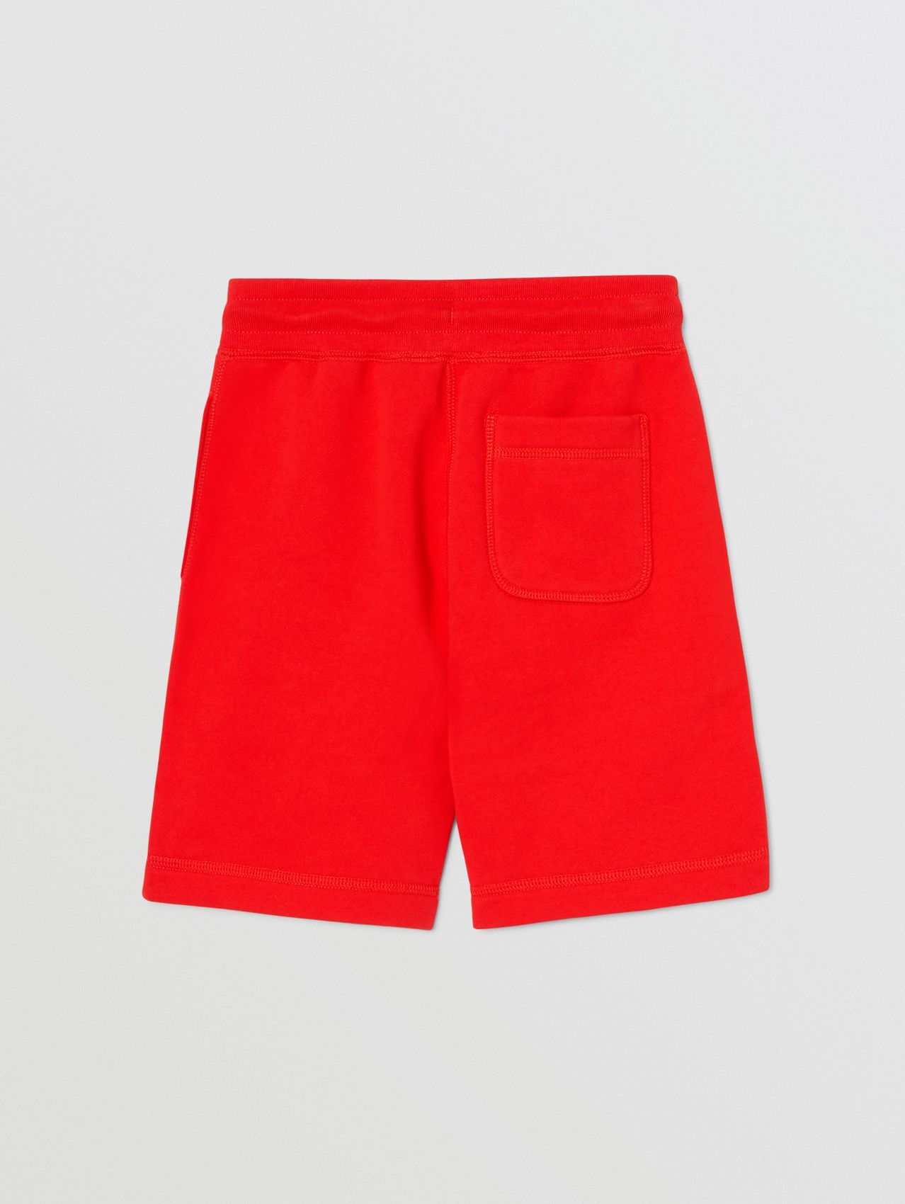 Contrast Logo Graphic Cotton Drawcord Shorts in Bright Red