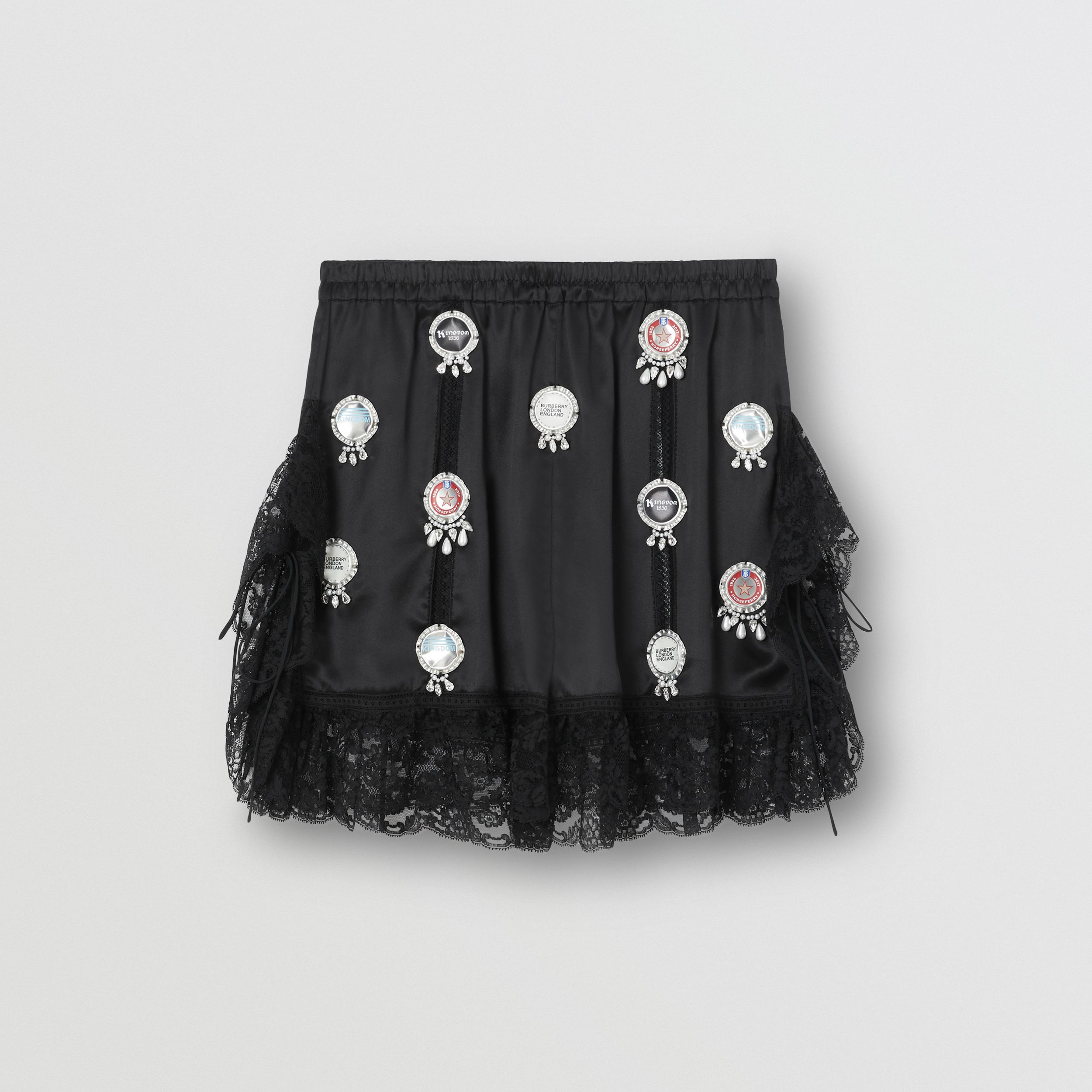 Bottle Cap Detail Satin and Lace Shorts in Black - Women | Burberry - 4