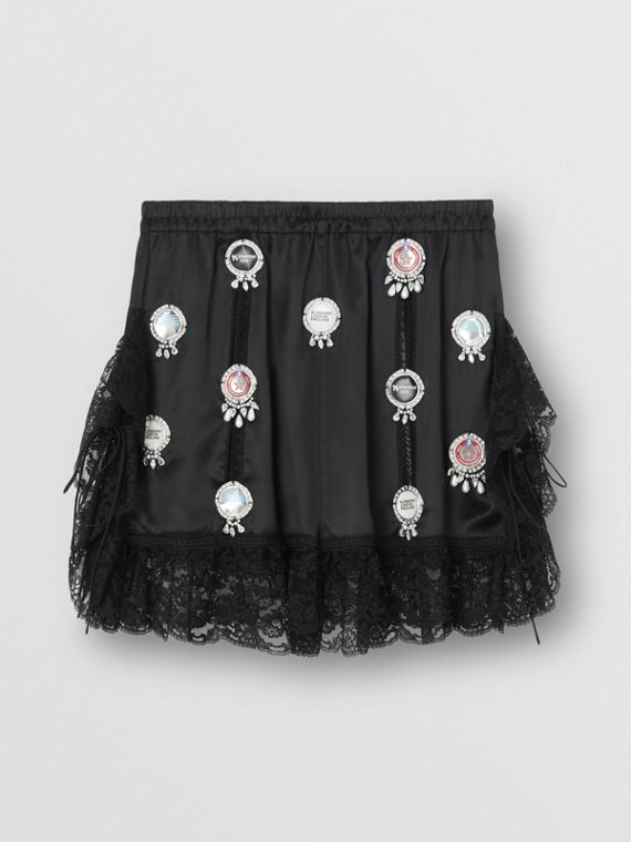 Bottle Cap Detail Satin and Lace Shorts in Black