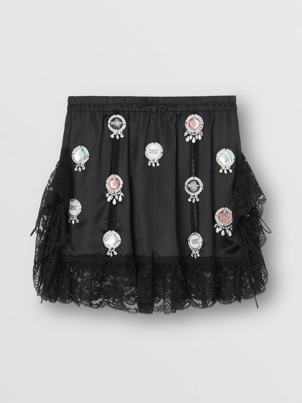 Bottle Cap Detail Satin and Lace Shorts in Black - Women | Burberry United Kingdom - cell image 3