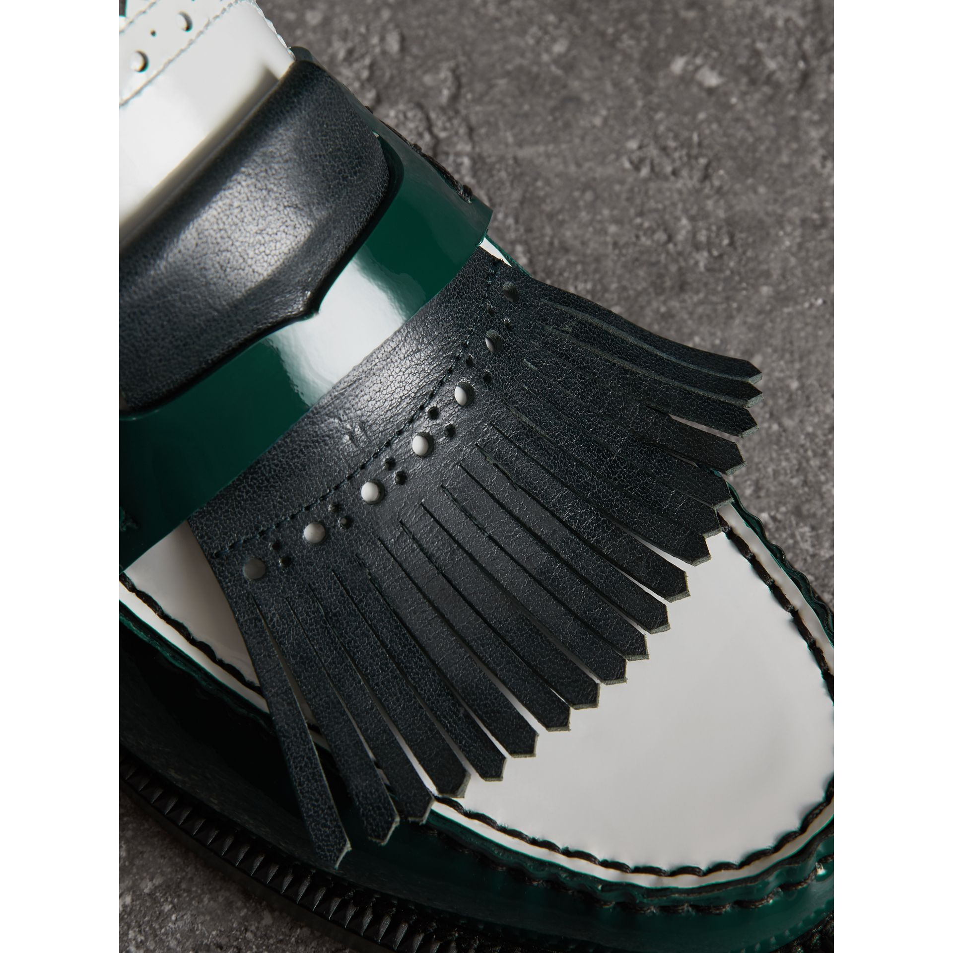 Tri-tone Kiltie Fringe Leather Mules in Dark Forest Green - Women | Burberry - gallery image 1