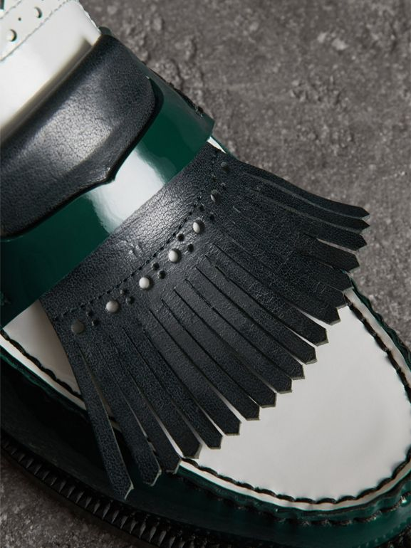 Tri-tone Kiltie Fringe Leather Mules in Dark Forest Green - Women | Burberry Canada - cell image 1