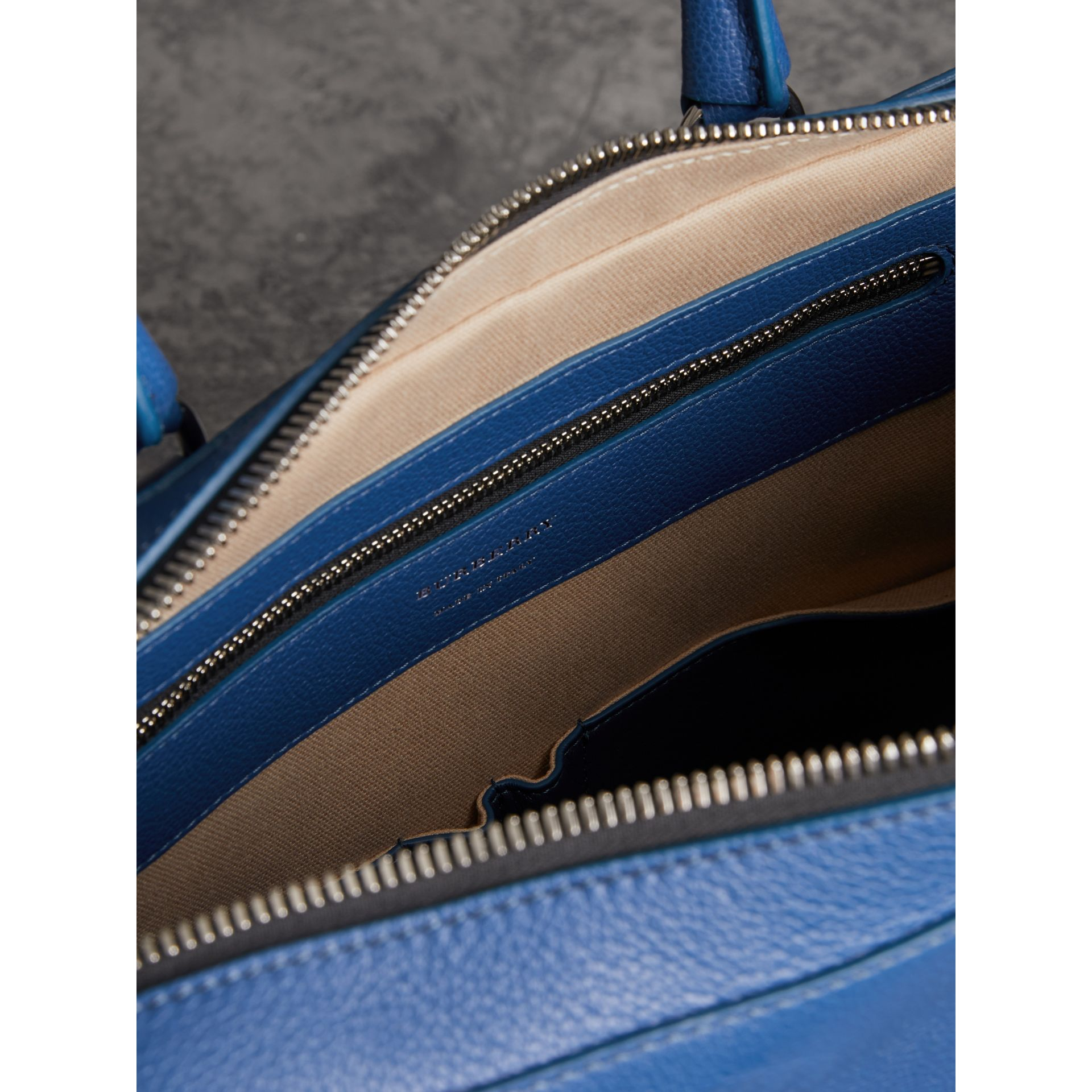 Grainy Leather Briefcase in Bright Ultramarine - Men | Burberry United States - gallery image 5