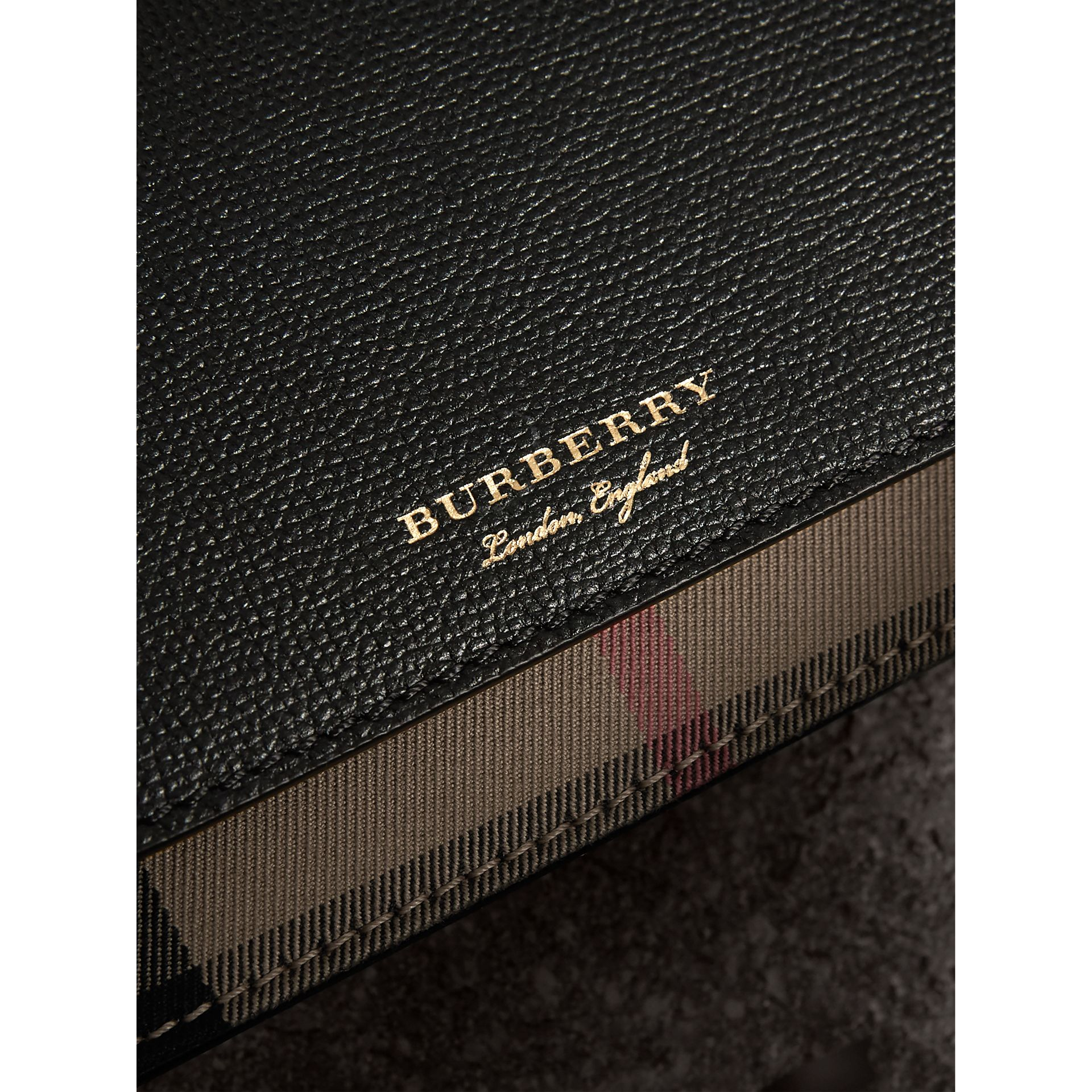 Leather and House Check Wallet with Detachable Strap in Black - Women | Burberry Hong Kong - gallery image 1