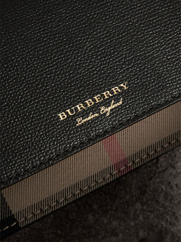 Leather and House Check Wallet with Detachable Strap in Black - Women | Burberry United Kingdom - cell image 1