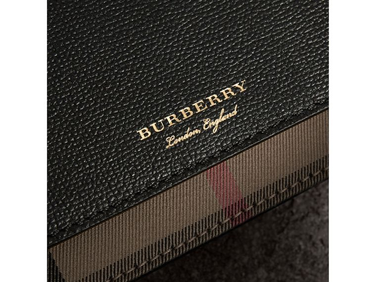 Leather and House Check Wallet with Detachable Strap in Black - Women | Burberry - cell image 1