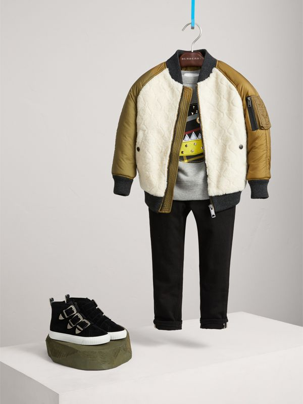 Contrast Sleeve Lamb Shearling Bomber Jacket in Natural White | Burberry - cell image 2