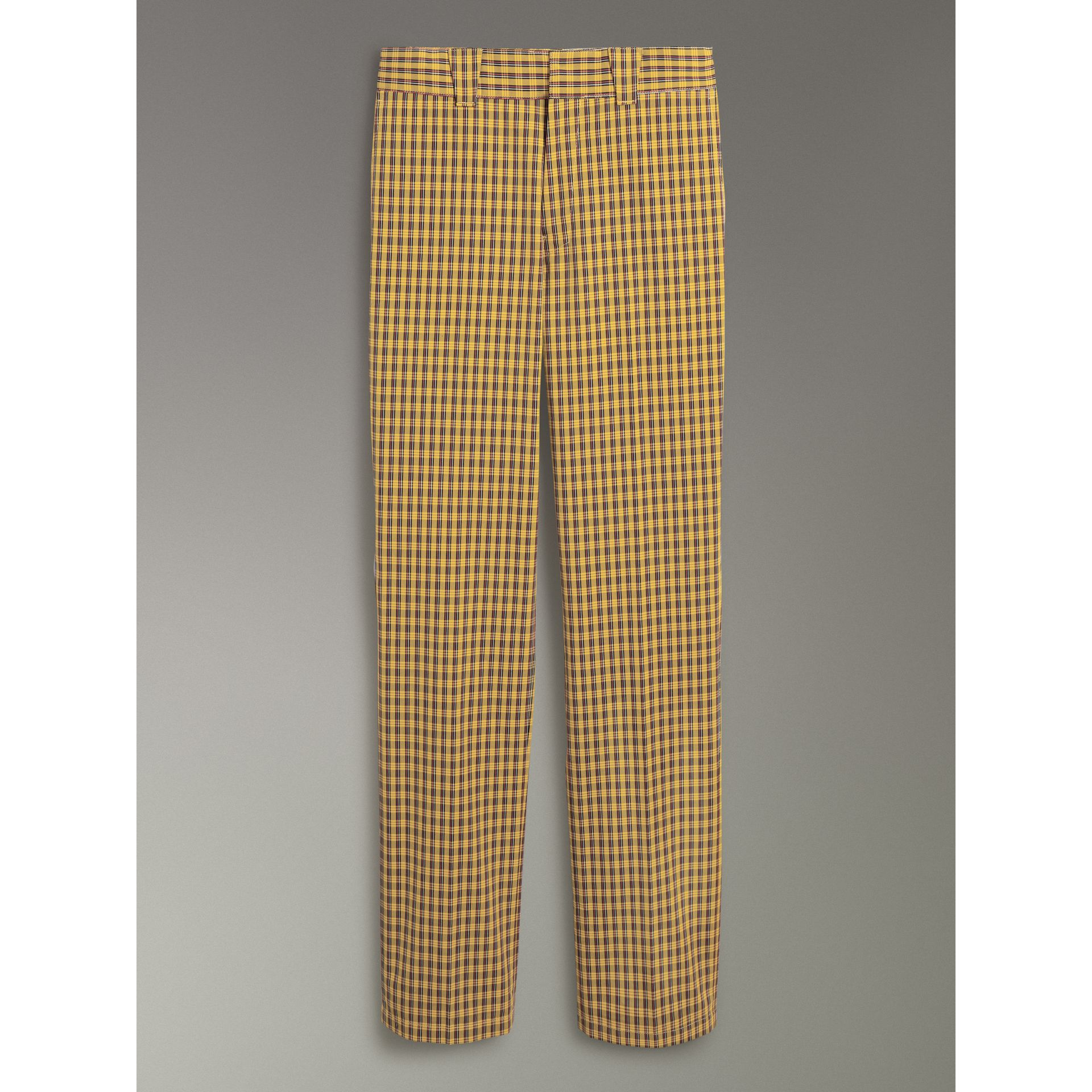 Check Washed Cotton Trousers in Bright Saffron Yellow - Men | Burberry - gallery image 3