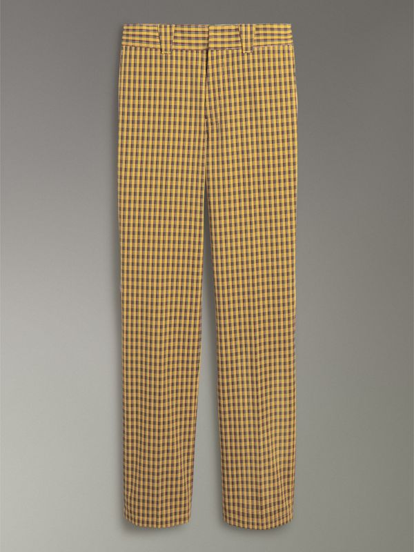 Check Washed Cotton Trousers in Bright Saffron Yellow - Men | Burberry Australia - cell image 3