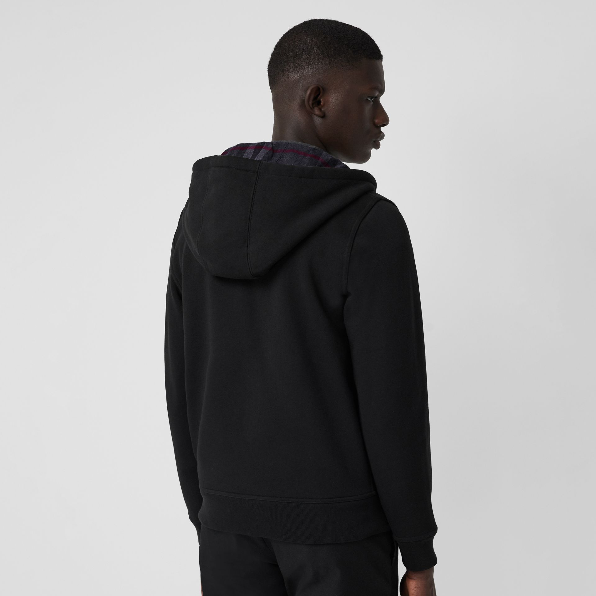 Check Detail Jersey Hooded Top in Black - Men | Burberry United Kingdom - gallery image 2