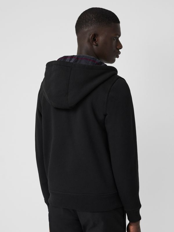 Check Detail Jersey Hooded Top in Black - Men | Burberry United Kingdom - cell image 2