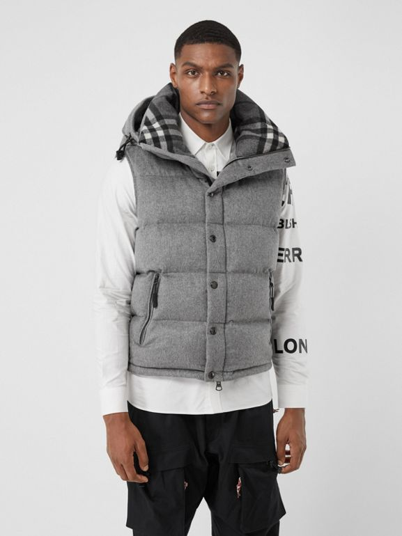 Detachable Sleeve Cashmere Hooded Puffer Jacket in Mid Grey Melange - Men   Burberry United Kingdom - cell image 1