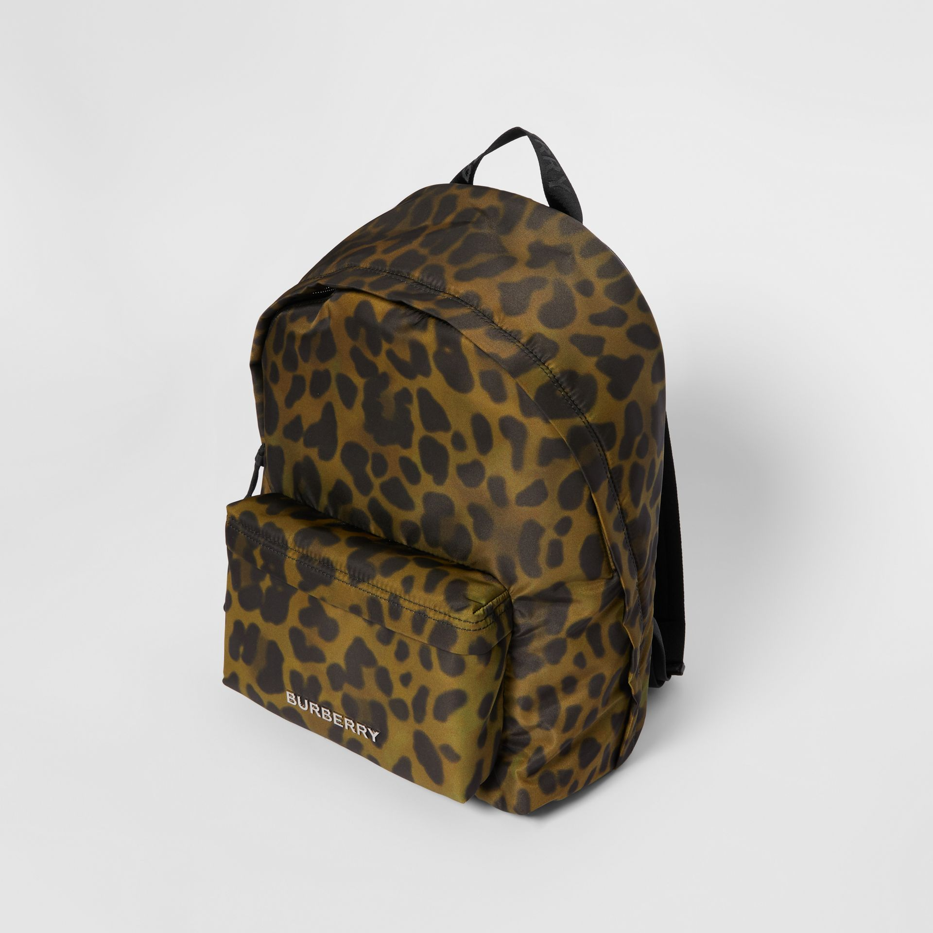 Leopard Print Nylon Backpack in Khaki Green | Burberry Australia - gallery image 3