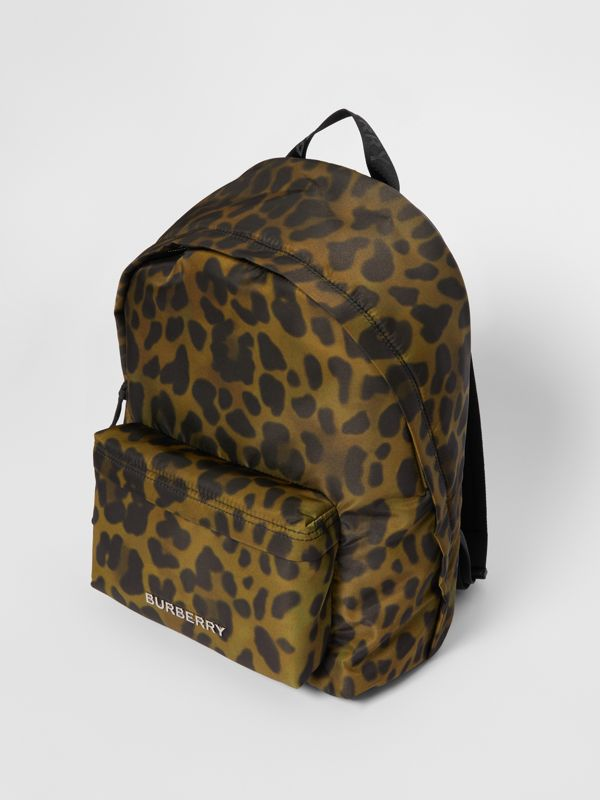 Leopard Print Nylon Backpack in Khaki Green | Burberry - cell image 3