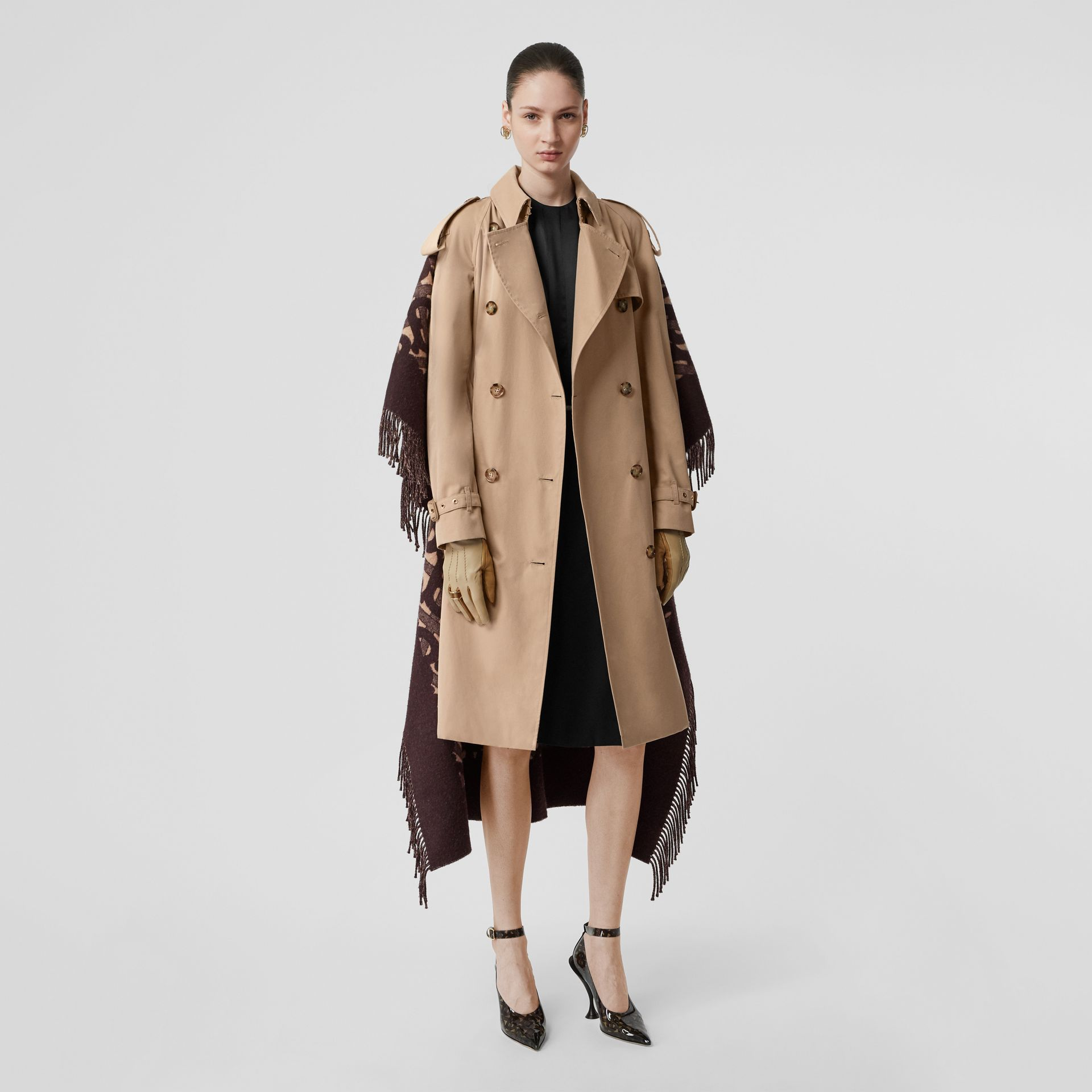 Blanket Detail Cotton Gabardine Trench Coat in Honey - Women | Burberry Australia - gallery image 7