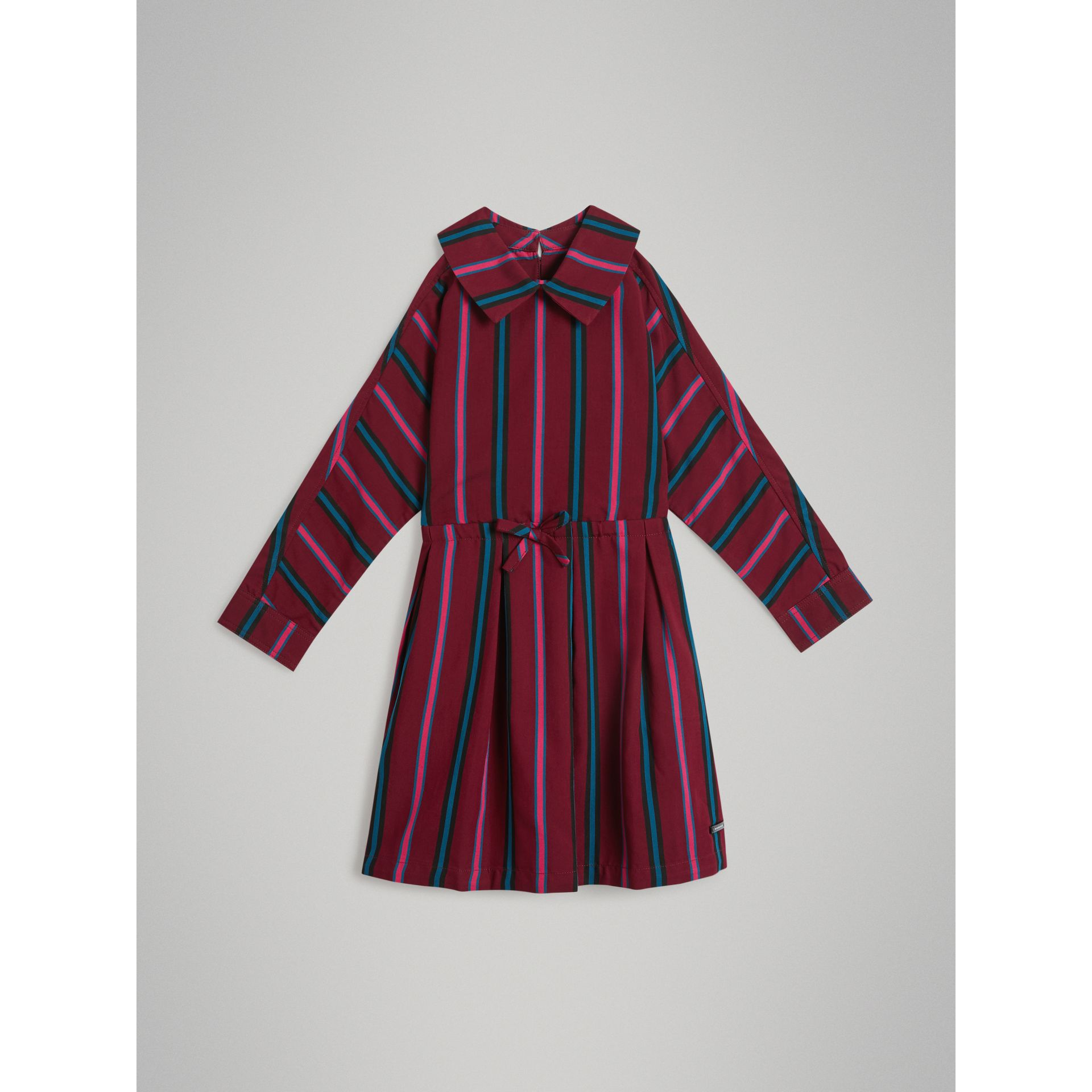 Striped Drawcord Dress in Burgundy - Girl | Burberry - gallery image 0