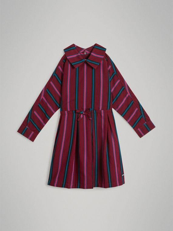 Striped Drawcord Dress in Burgundy