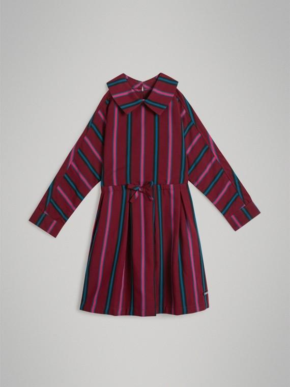 Платье в полоску (Бордовый)