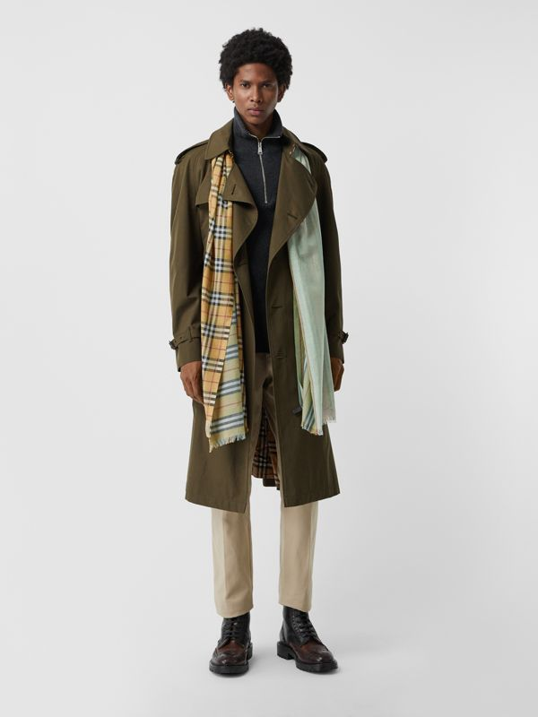 Vintage Check Colour Block Wool Silk Scarf in Light Mint | Burberry Australia - cell image 3