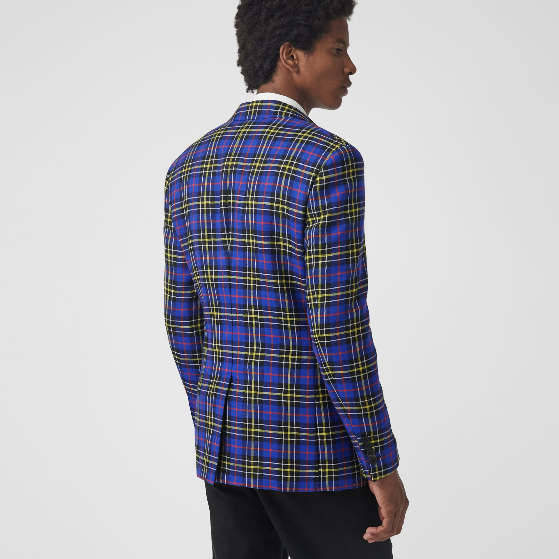 Classic Fit Tartan Wool Tailored Jacket in Sapphire Blue - Men | Burberry Singapore - gallery image 2