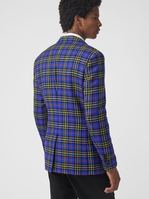 Classic Fit Tartan Wool Tailored Jacket in Sapphire Blue - Men | Burberry Singapore - cell image 2