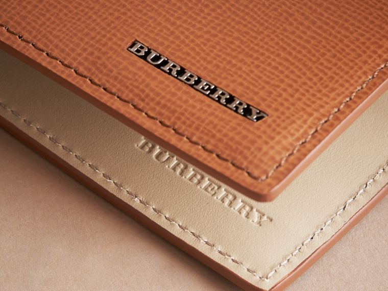 London Leather Bifold Wallet in Tan | Burberry United States - cell image 1