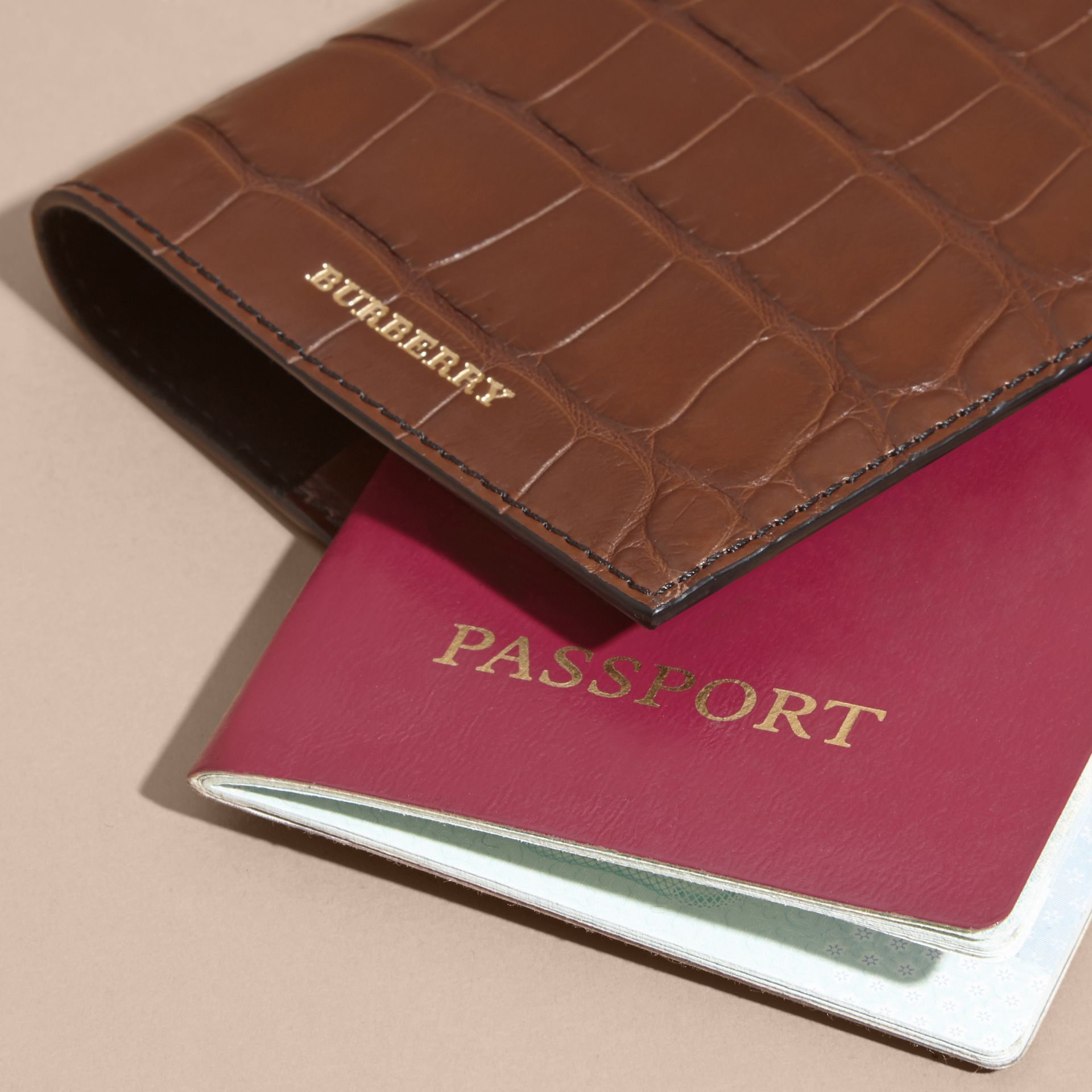 Alligator Passport Holder in Flax Brown | Burberry - gallery image 4