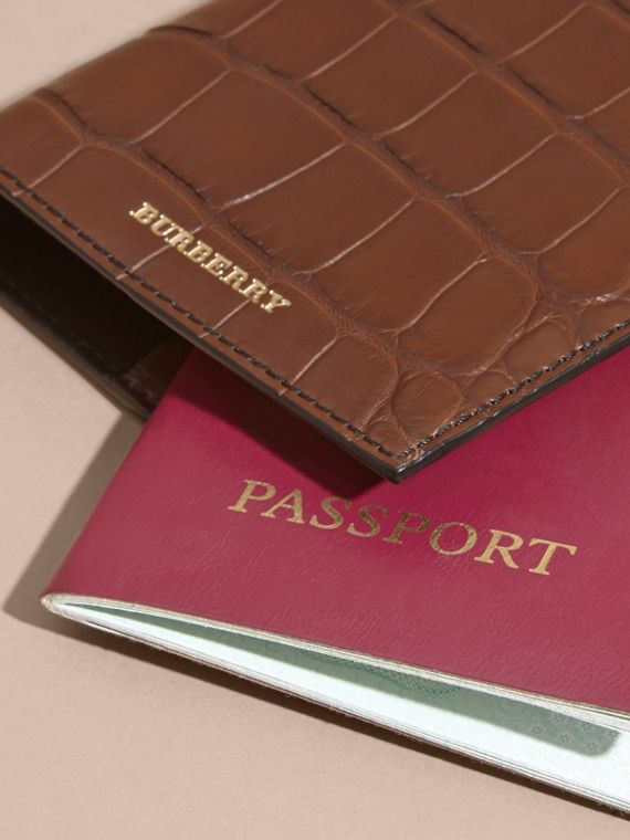 Alligator Passport Holder in Flax Brown | Burberry - cell image 3