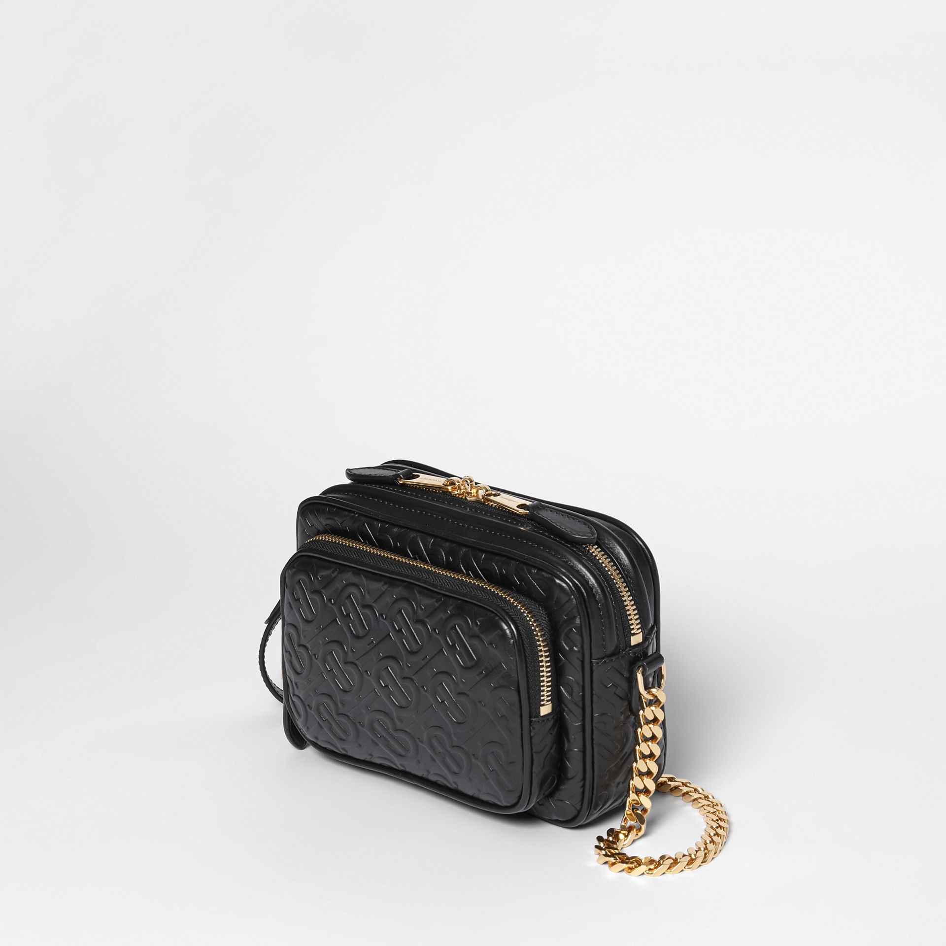 Monogram Leather Camera Bag in Black - Women | Burberry Hong Kong - gallery image 3