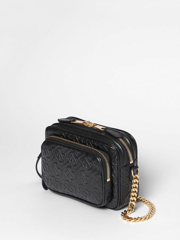 Monogram Leather Camera Bag in Black - Women | Burberry Hong Kong - cell image 3