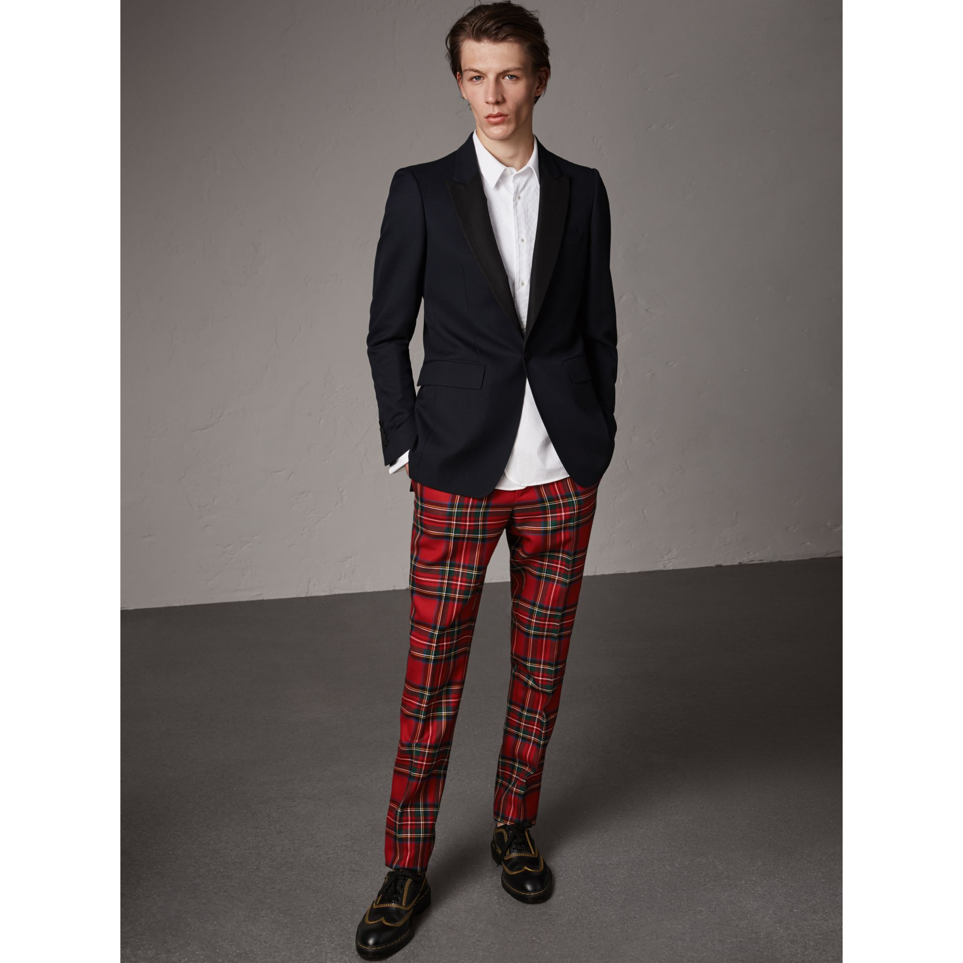 Tartan Wool Tailored Trousers in Bright Red | Burberry - gallery image 0