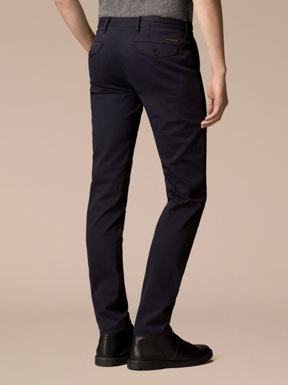 Navy Slim Fit Stretch-Cotton Twill Chinos Navy - cell image 2