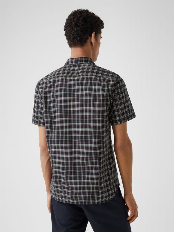 Short-sleeve Check Cotton Shirt in Navy - Men | Burberry - cell image 2