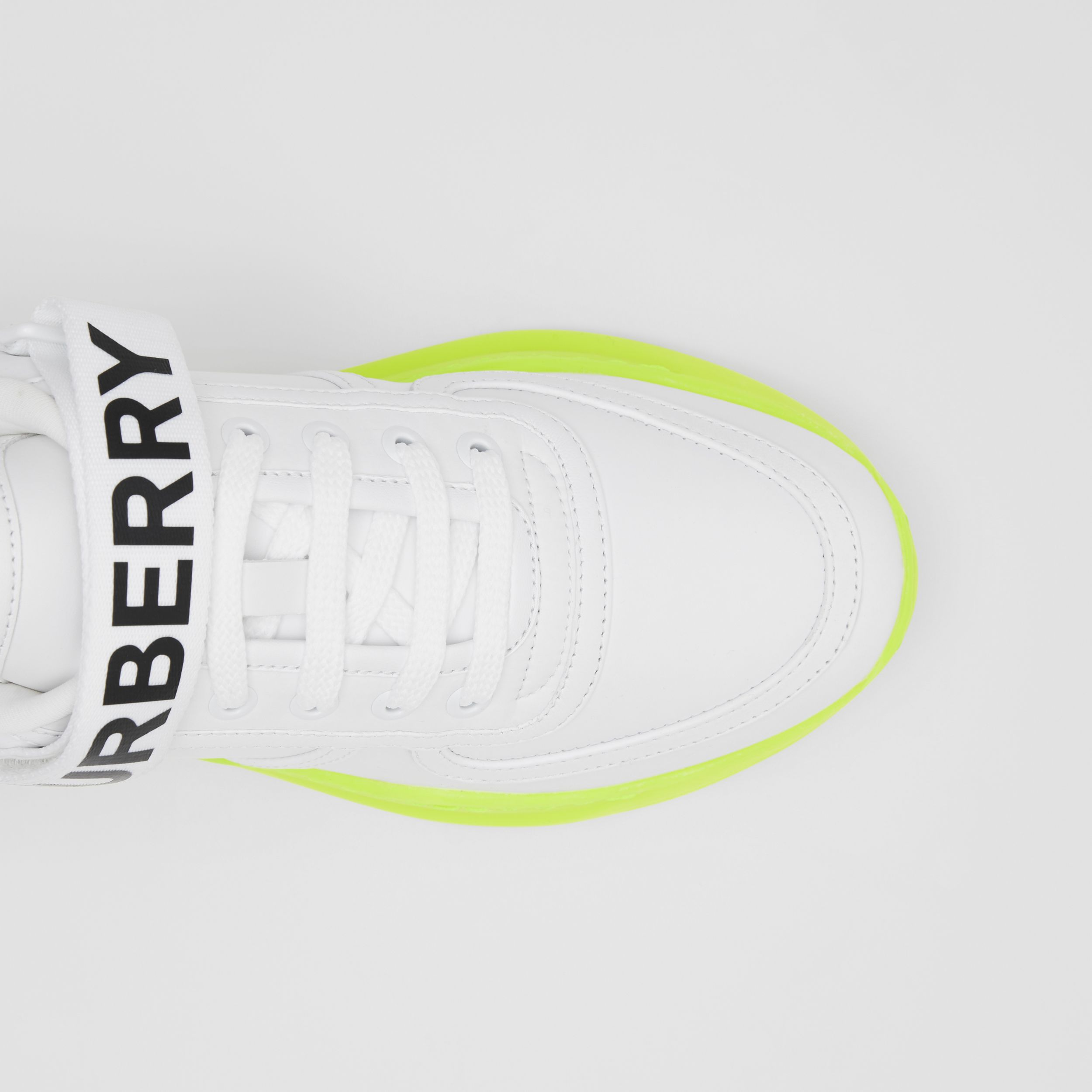 Logo Detail Leather and Nylon Sneakers in Optic White/fluorescent Yellow - Women | Burberry United Kingdom - 2