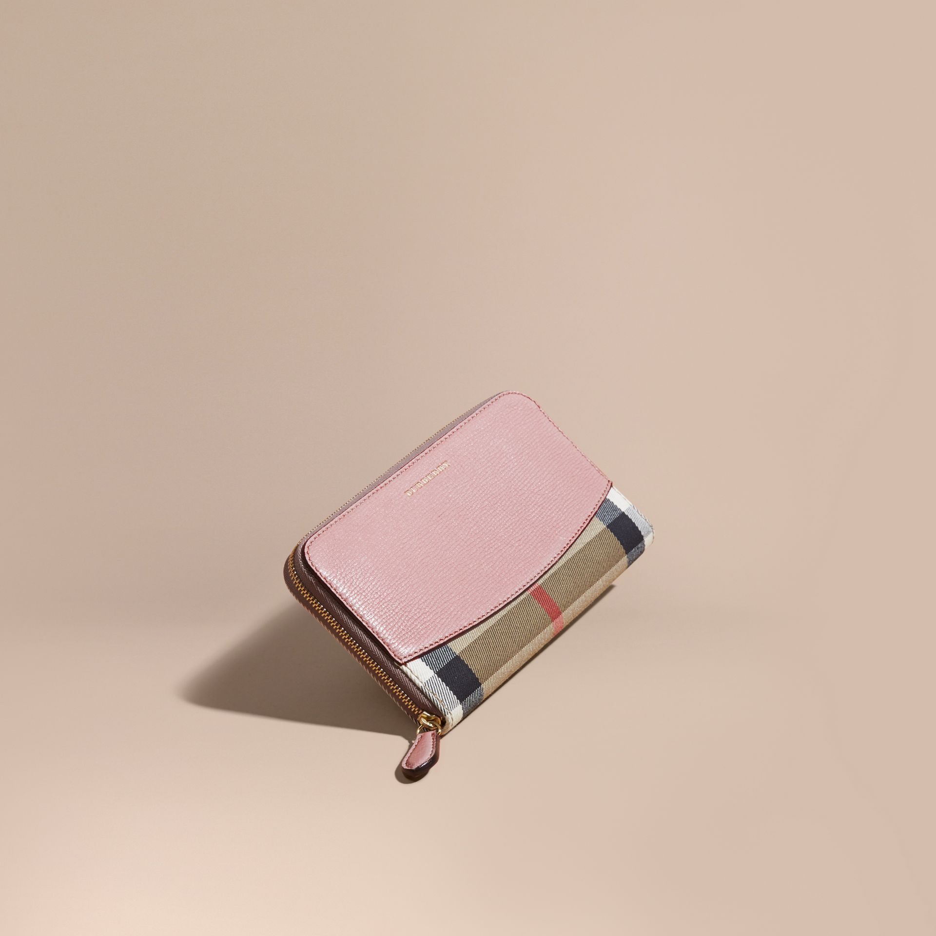 House Check and Leather Ziparound Wallet in Pale Orchid - Women | Burberry - gallery image 1