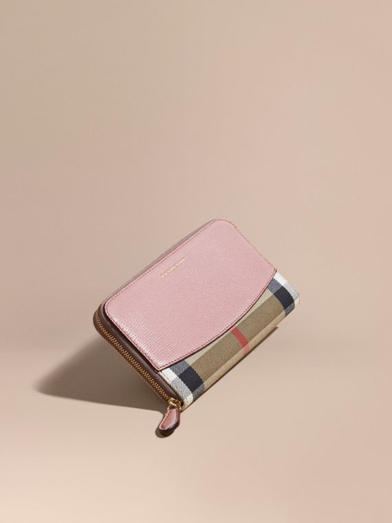 House Check and Leather Ziparound Wallet in Pale Orchid