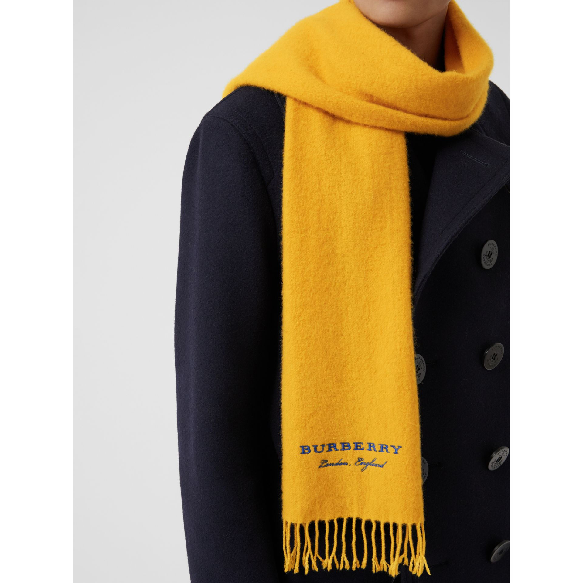 Embroidered Cashmere Fleece Scarf in Saffron Yellow | Burberry Australia - gallery image 5