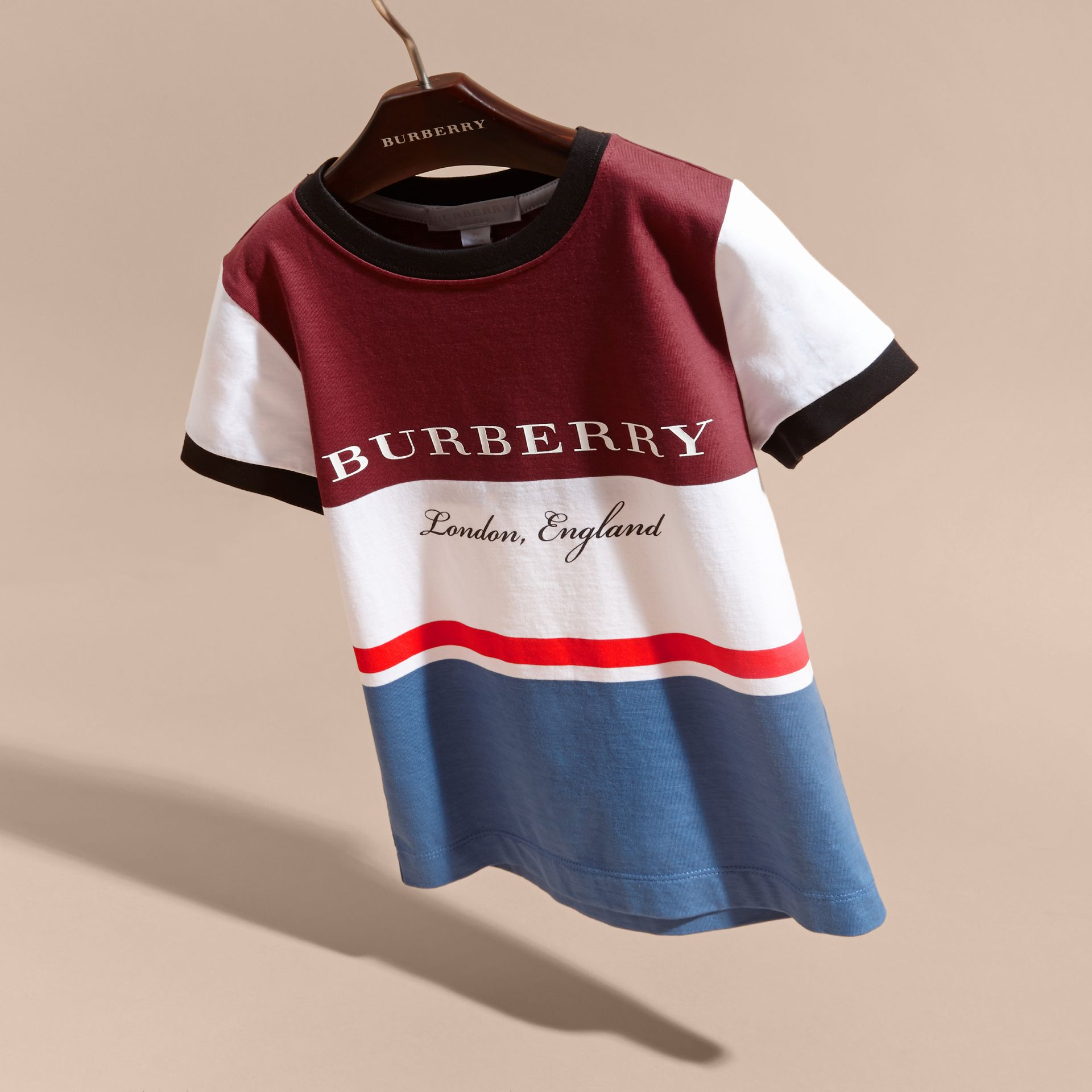 Multi Stripe Cotton T-shirt Claret - gallery image 3